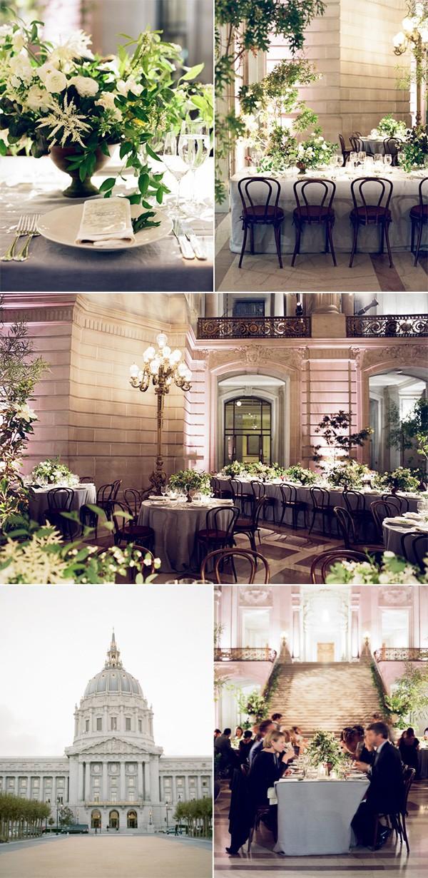 elegant greenery and white wedding recetpion decoration ideas