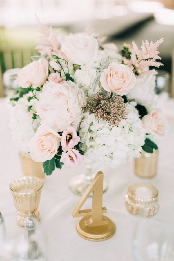 elegant pink and gold wedding centerpiece ideas