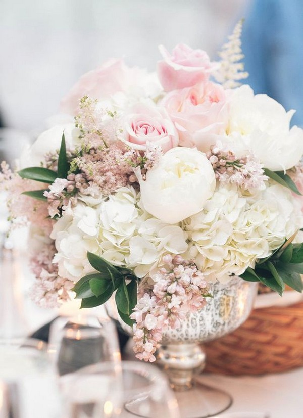 elegant wedding centerpieces with blush floral