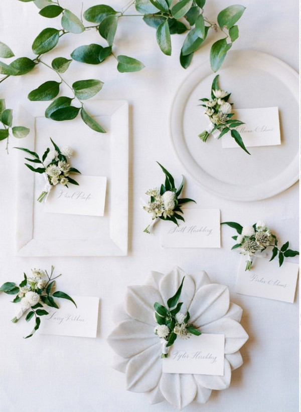 elegant white and green wedding table setting ideas