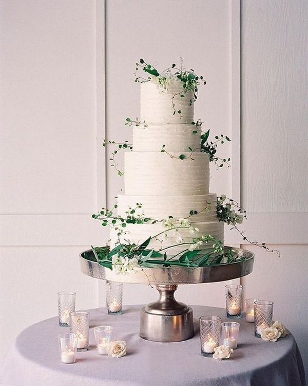 gorgeous white and green buttercream wedding cake