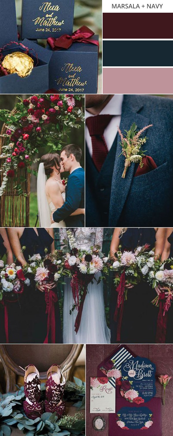 marsala and navy blue fall wedding color ideas