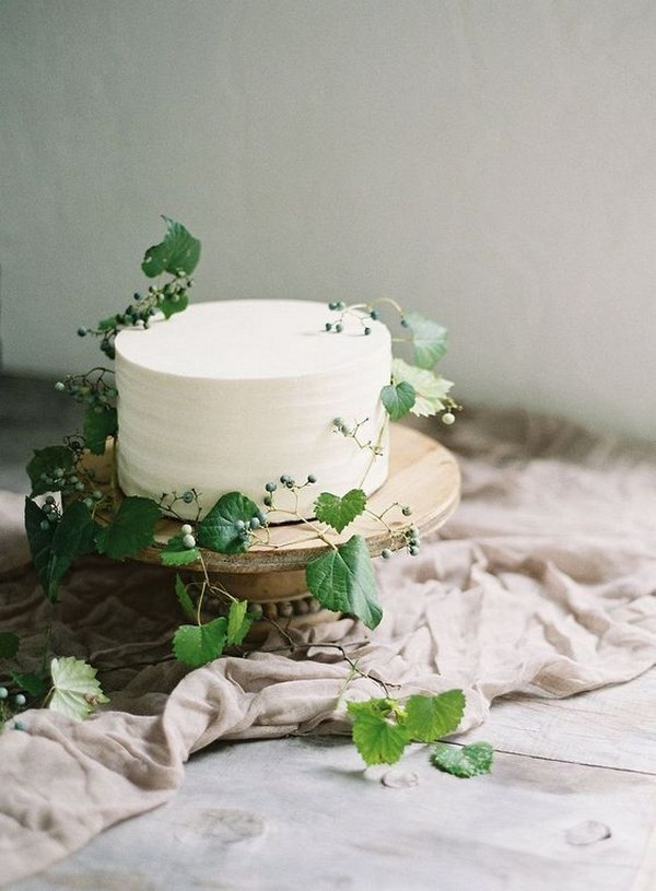 minimal white and green wedding cake
