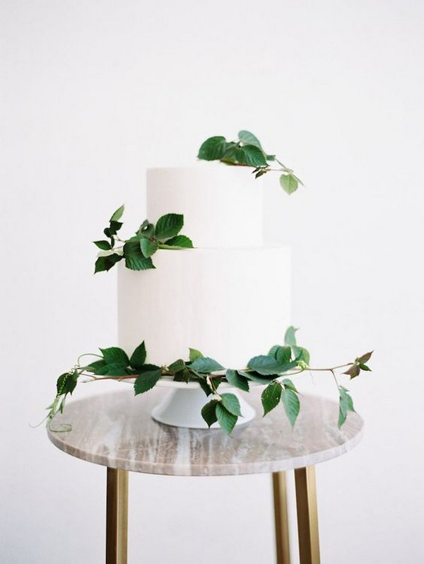 modern white and green wedding cake
