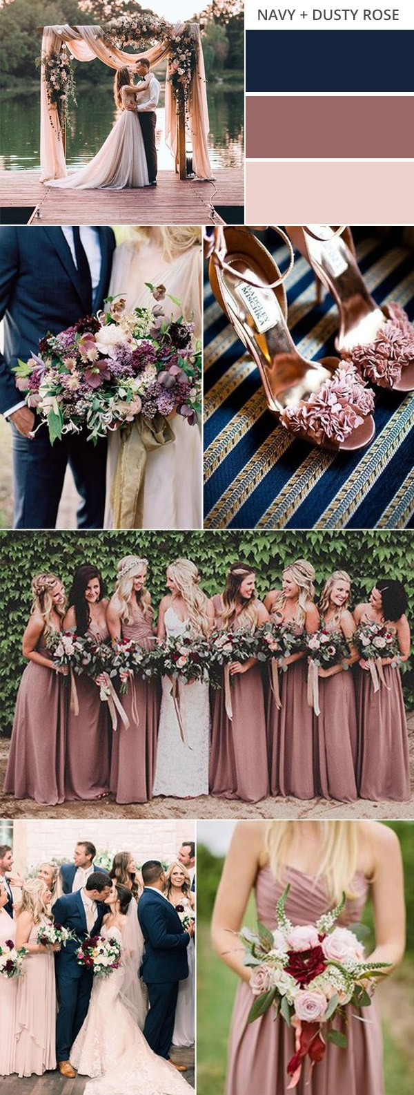 Top 10 gorgeous fall wedding color palettes to love emmalovesweddings navy blue and dusty rose wedding color ideas for fall junglespirit Choice Image