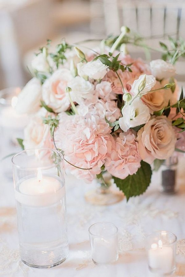 romantic blush floral wedding centerpiece ideas
