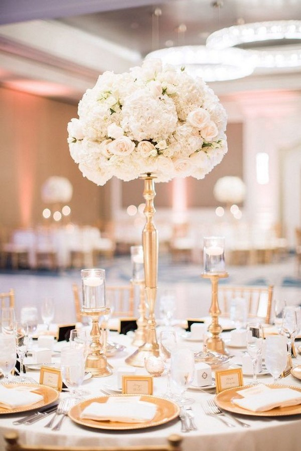 romantic tall wedding centerpiece with blush pink roses