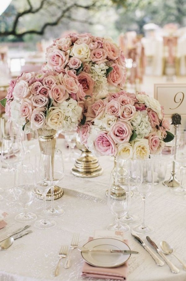 shades of pink floral wedding centerpieces