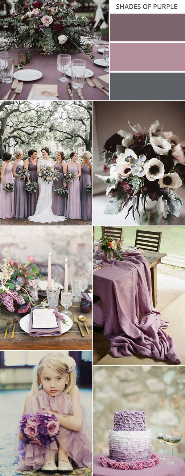shades of purple fall wedding colors
