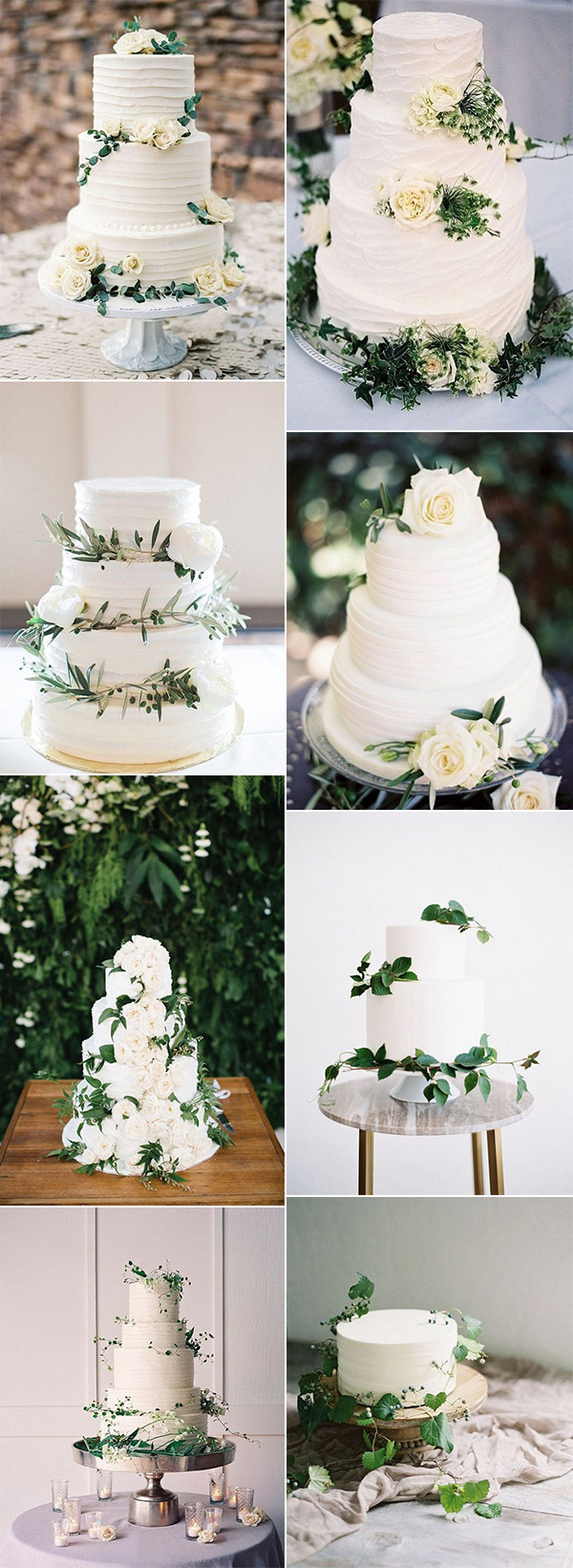 simple and elegant white and green wedding cakes for 2018 trends