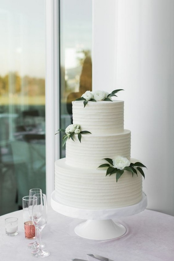 simple white and green wedding cake