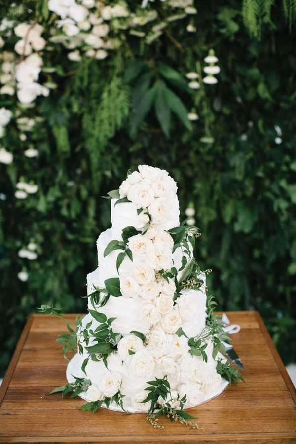 trending white and green wedding cake