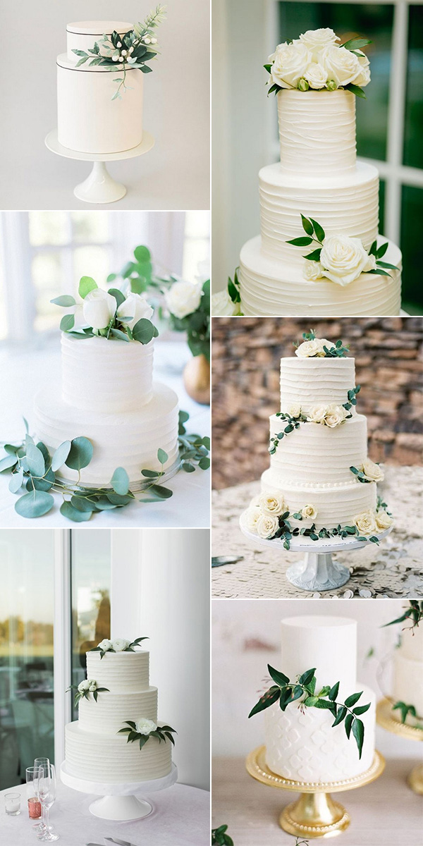 trending white and green wedding cakes for 2018