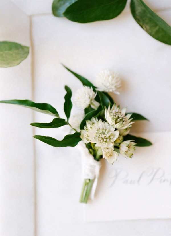 white and green wedding boutonniere ideas