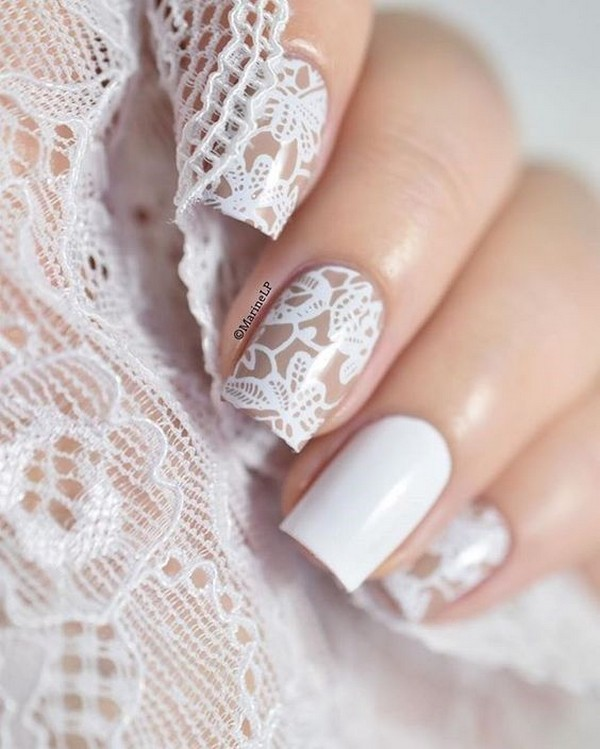 French manicure wedding nail ideas with lace design