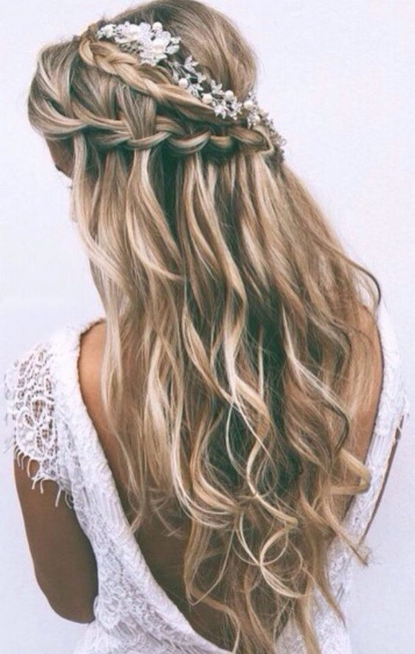 boho chic half up half down wedding hairstyle