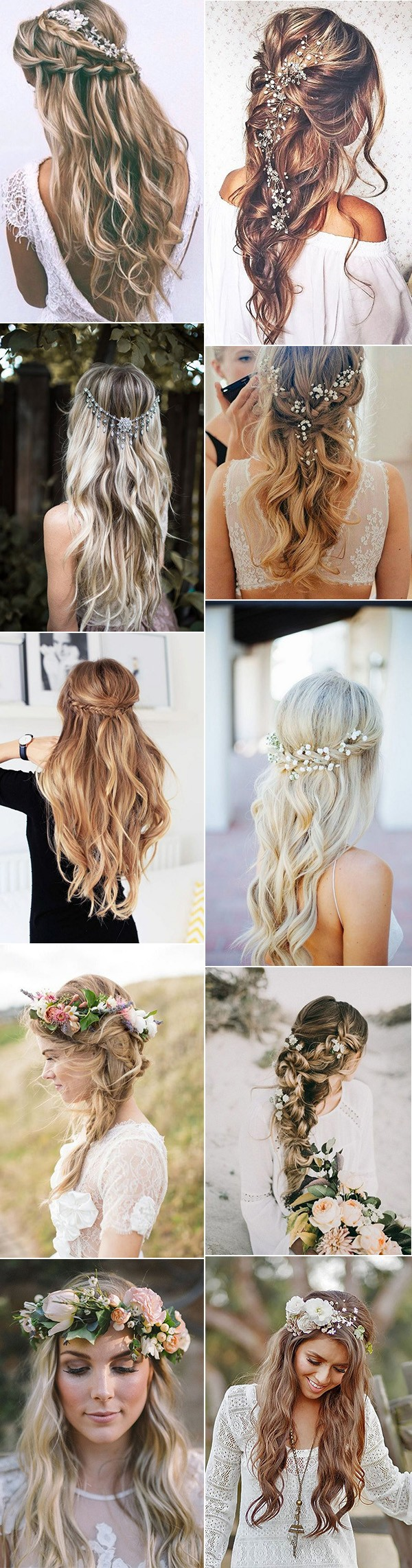 boho chic half up half down wedding hairstyles