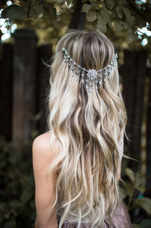 boho chic wedding hairstyle with headpieces