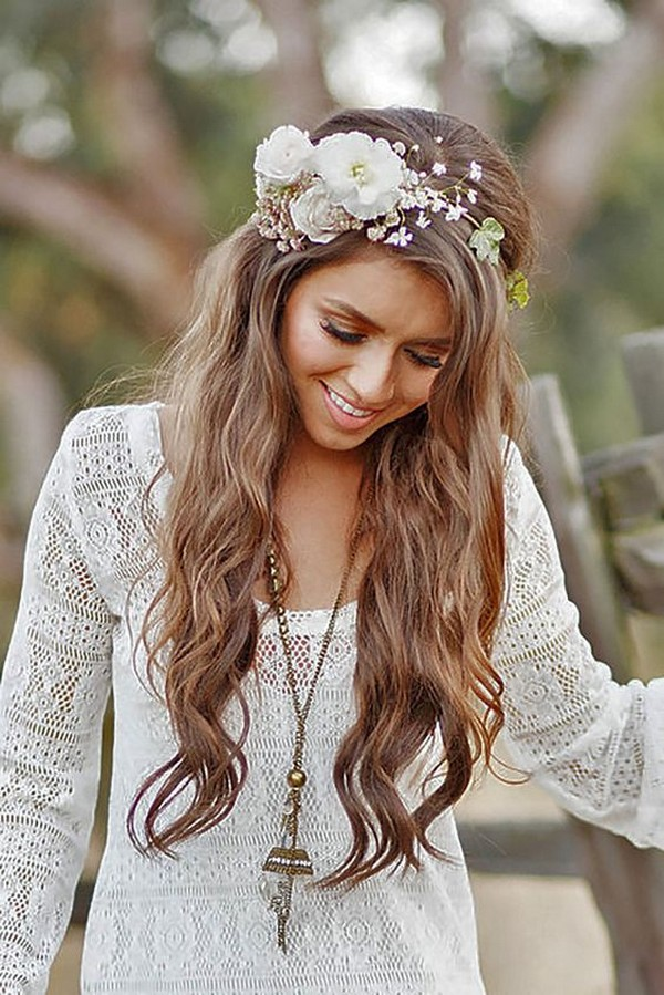 boho wedding hairstyle with flower crown