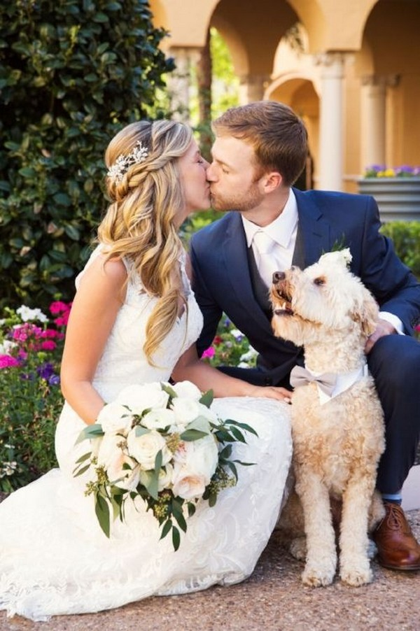 bride and groom with dog wedding photo ideas