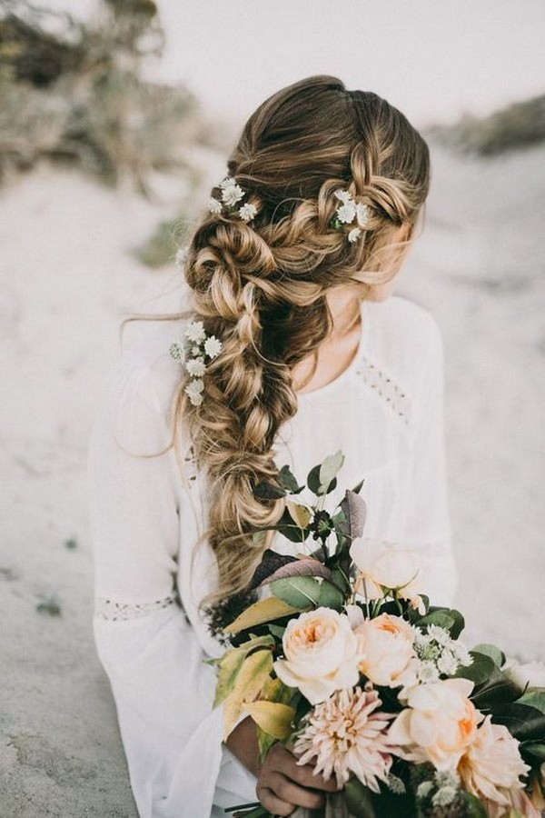 chic boho fishtail wedding haistyles with floral