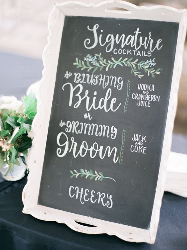chic greenery and chalkboard wedding drink station sign ideas