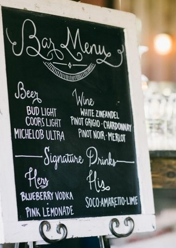 chic rustic chalkboard wedding drink bar sign