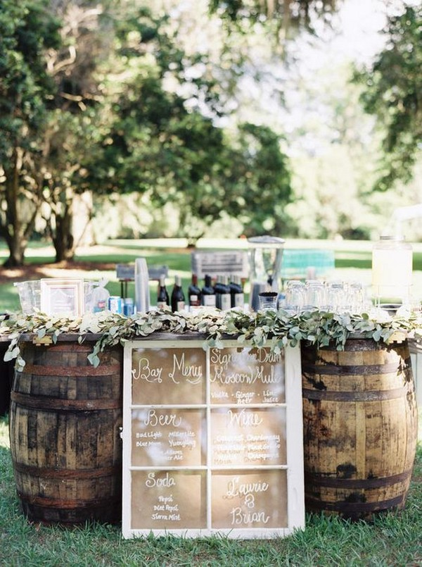 chic rustic old window inspired wedding drink bar menu sign