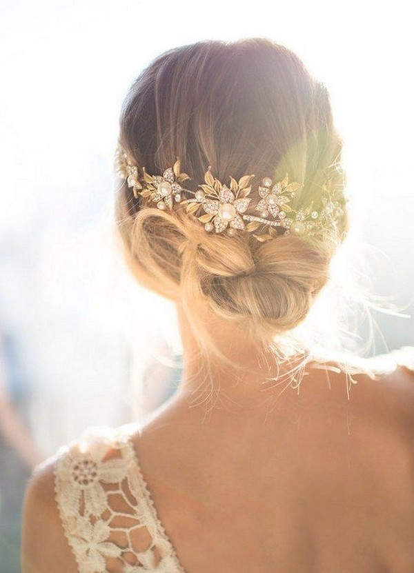 chic updo wedding hairstyle with headpiece 2