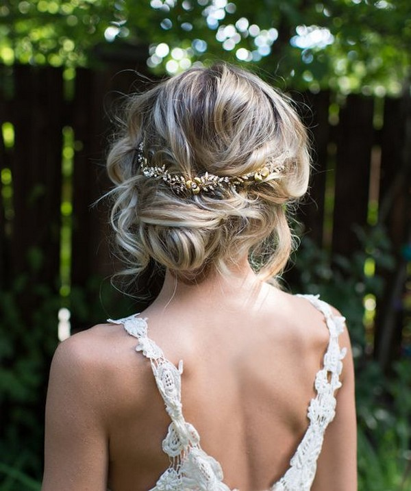 chic updo wedding hairstyle with headpiece