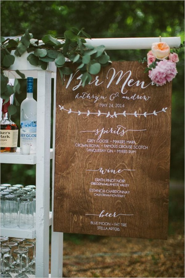 chic vintage wedding drink menu bar sign ideas