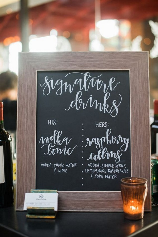 chic wedding signature drink bar sign ideas