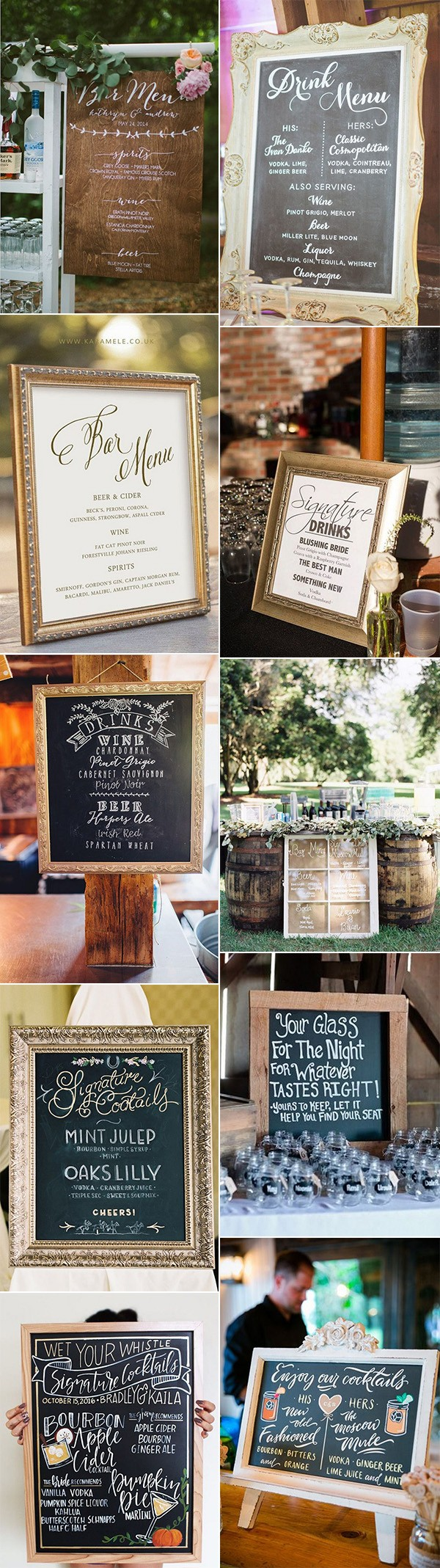 creative wedding drink station signs