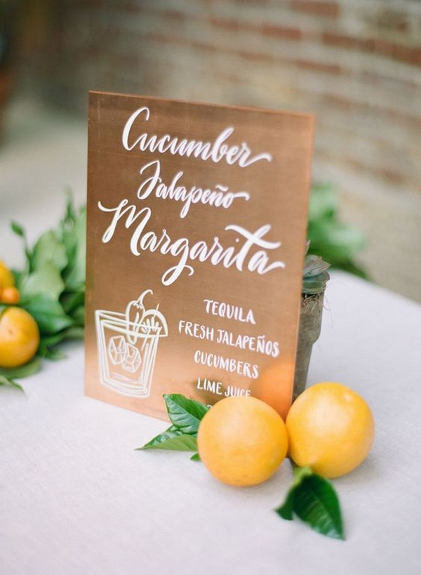 drink station menu sign ideas for outdoor weddings