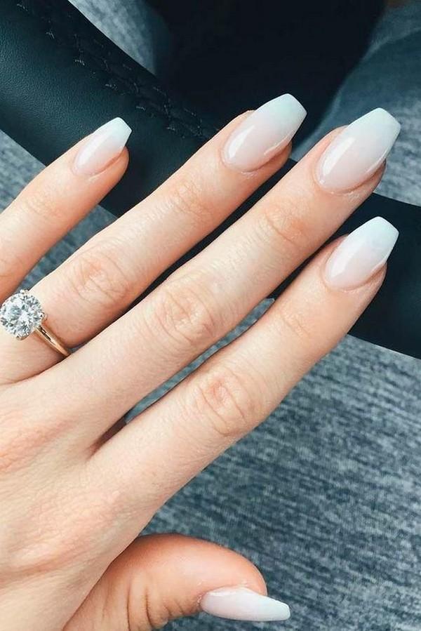 elegant neutral wedding nail