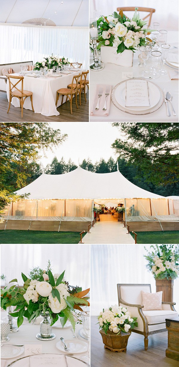 elegant pink and green tented wedding reception ideas