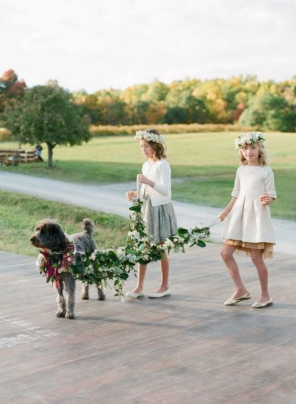flower girls walking with dog wedding photo ideas