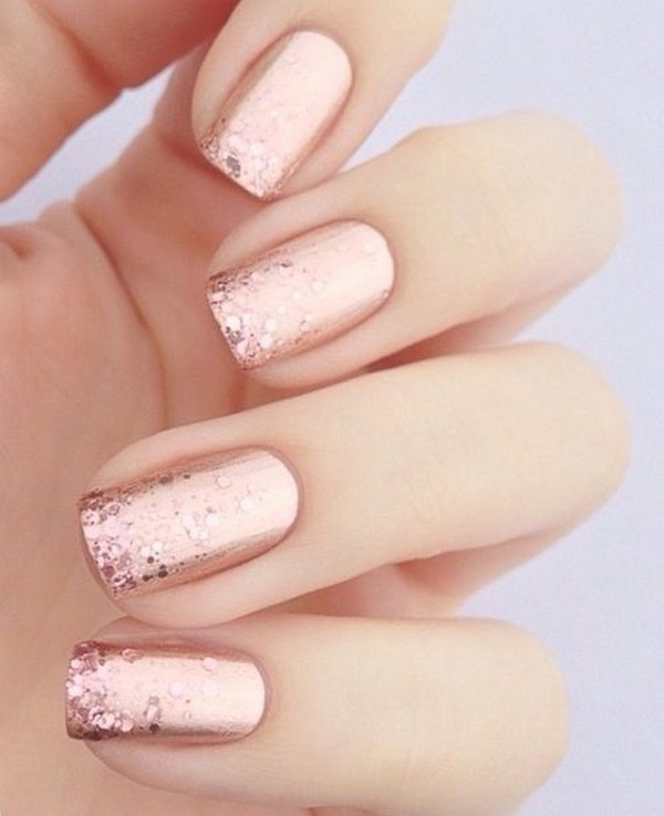 glittery pink wedding nail design ideas