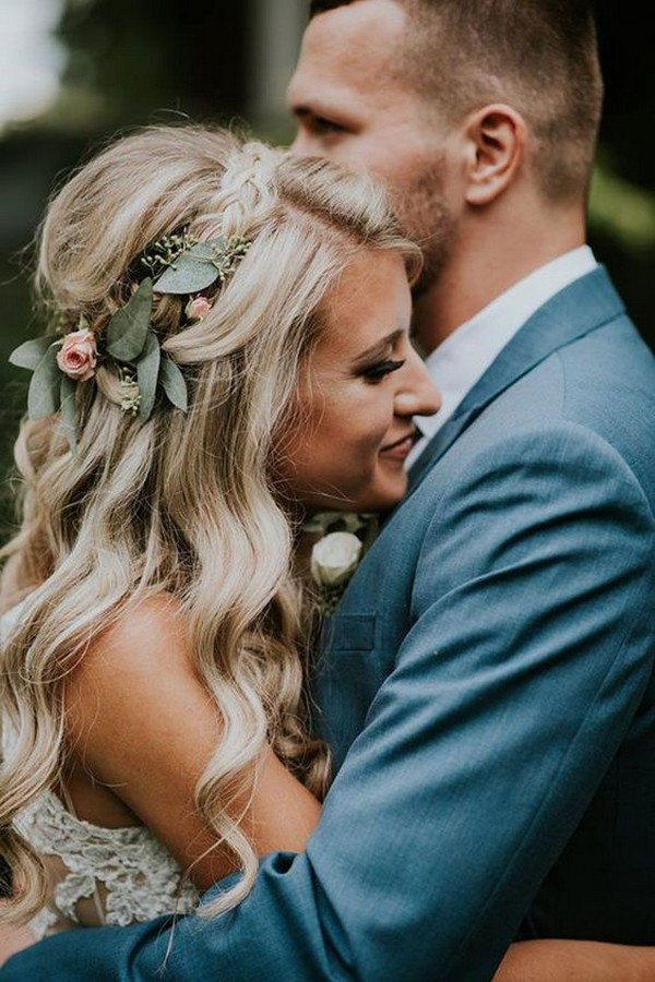 half up half down boho wedding hairstyle with floral crown