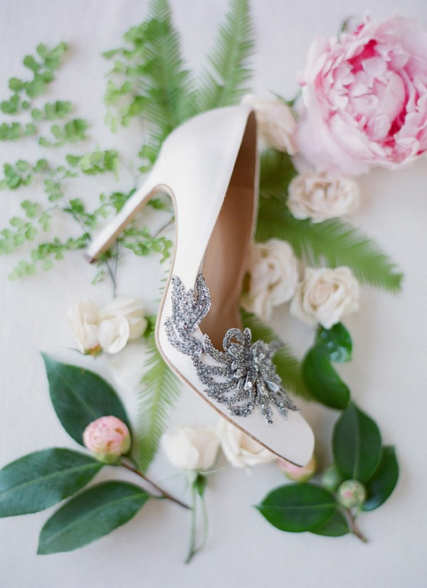 ivory wedding shoes with silver decorations