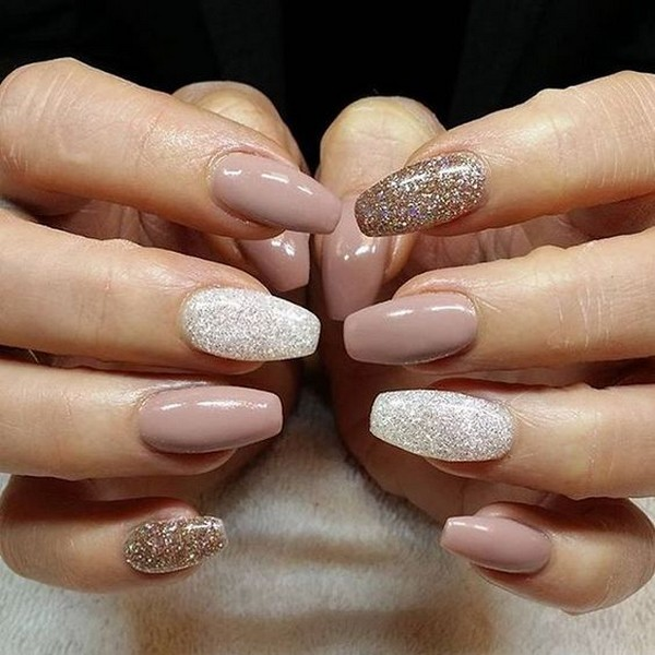 neutral colors bridal nail with touch of glitter