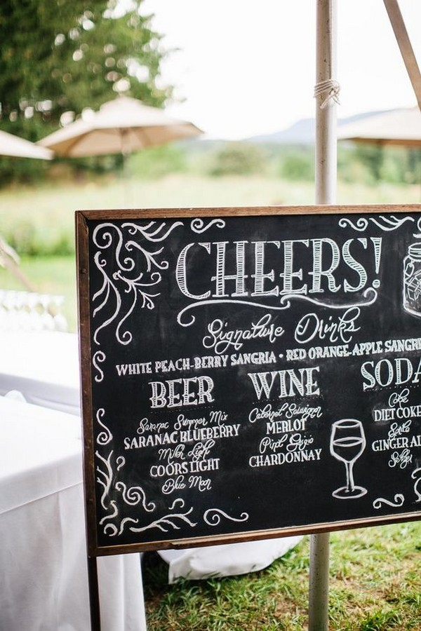 outdoor chalkboard wedding drink bar sign ideas