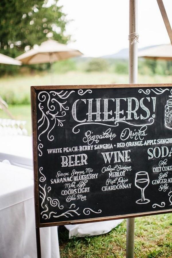 outdoor chalkboard wedding drink bar sign ideas