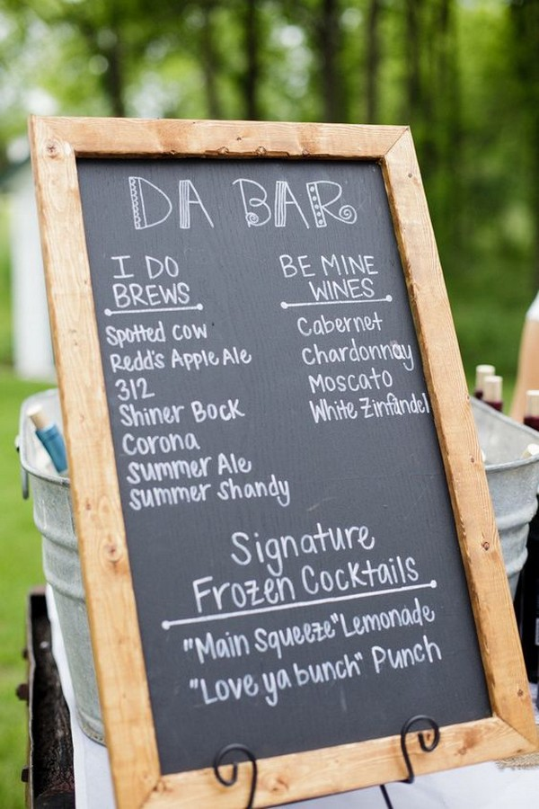 outdoor rustic chalkboard wedding bar sign