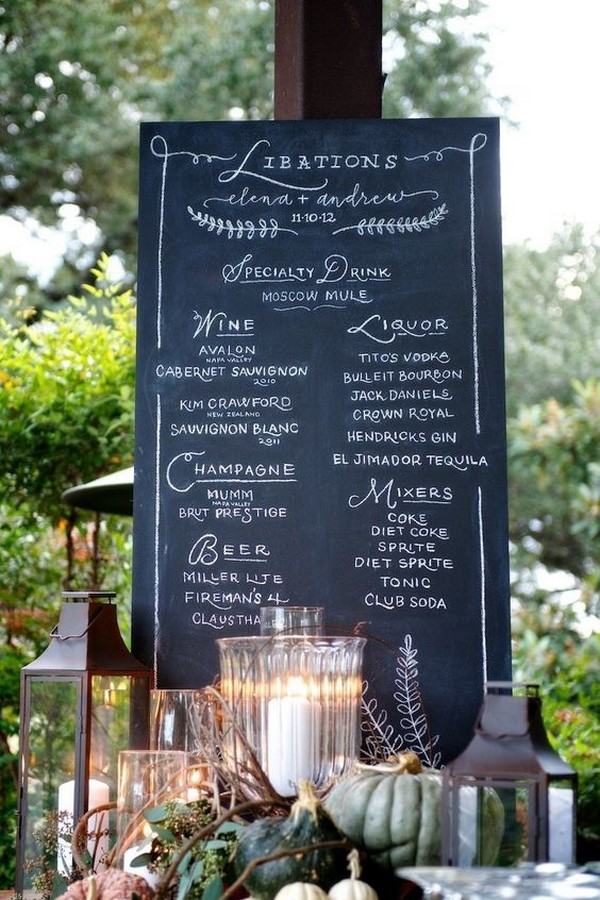 outdoor wedding drink bar menu sign ideas