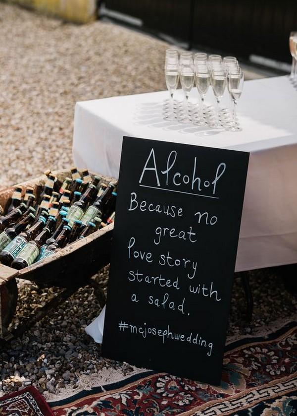 outdoor wedding drink bar sign ideas