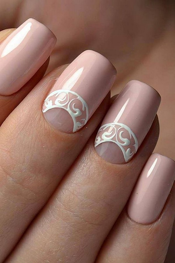 outstanding wedding nail design with lace