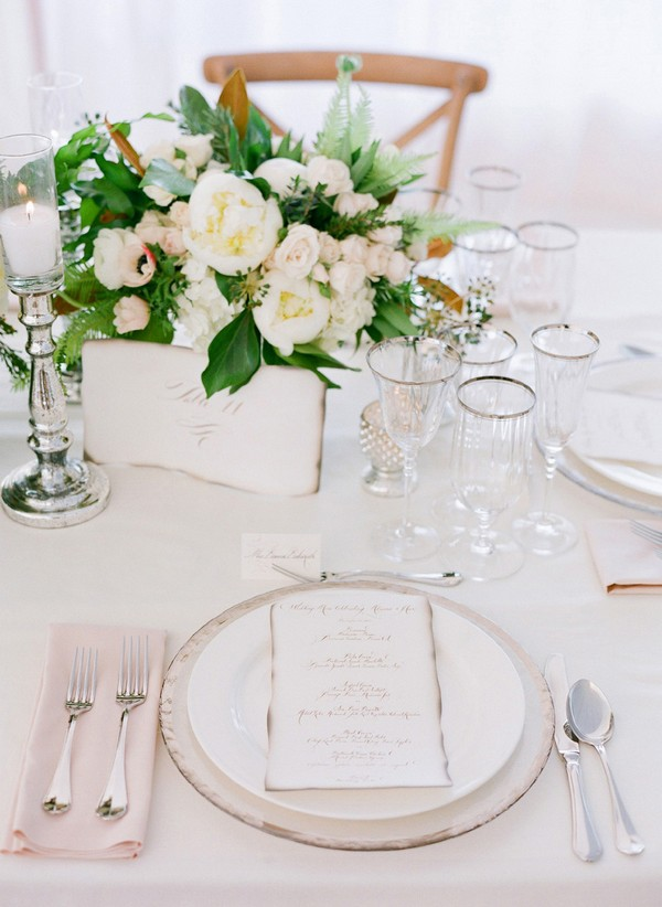pink and green wedding reception table setting and centerpiece ideas