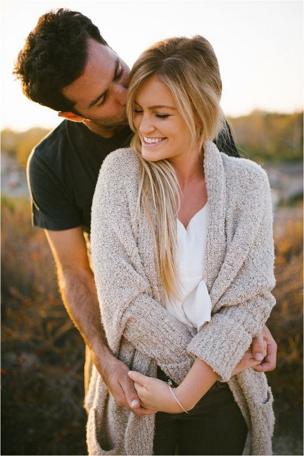 romantic engagement photo in fall