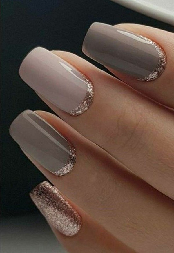 rose gold and neutral wedding nail ideas